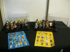 Lego figures series 1 and 2 complete in display cabinet
