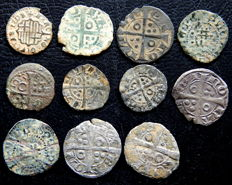 Spain - Lot of 11 Diners of fleece, almost all of them are medieval