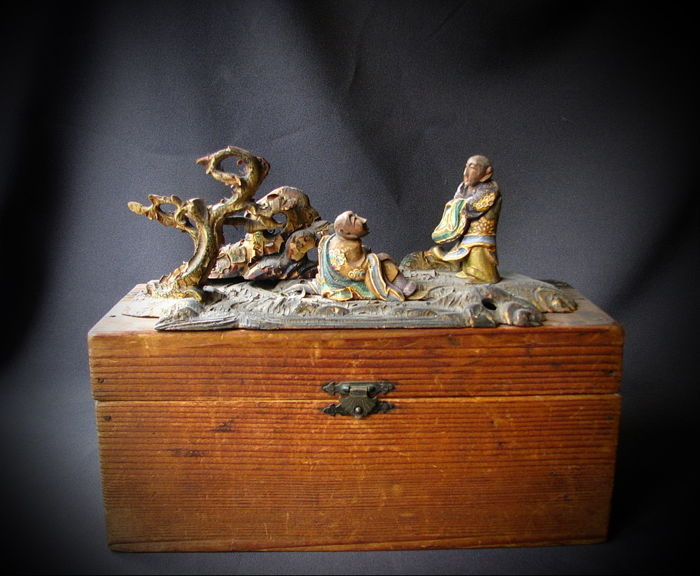 Wooden tableaux with original box - Japan - La 19th century (Late Edo period)