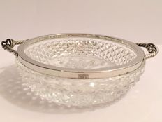 Antique crystal dish with silver edge & handles - Emil Hermann, Germany, ca. 1930