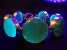 """Rare deepest blue Amber """"Pleiades constellation"""" designer bracelet in silver - 7 Sisters cabochons - """"Blue Rain"""" amber pattern"""