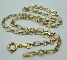 14/585 Ct  Yellow and White Gold Ladie's Necklace, length 55 cm, Total weight 9.07g