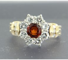18 kt bi-colour gold entourage ring set with a central brilliant cut garnet and 14 brilliant cut diamonds of approx. 2.35 ct in total