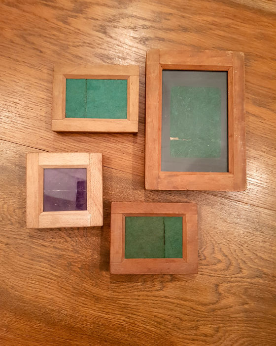 Lot of 4 wooden contact printing frames