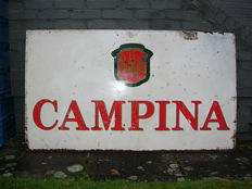"Metal advertising sign for Campina Dessel beer, 1982, ""Dobbel Palm"" sticker printed on both sides"