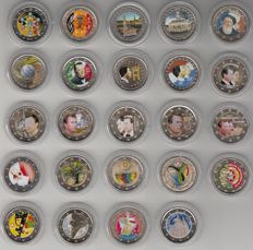 European countries - collection of 2 Euro occasional coins (24 different) all coloured 2004-2012