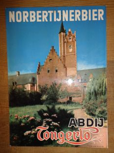 "1957 Beer advertising board for ""Tongerlo NORBERTIJNER BIER"", cardboard"