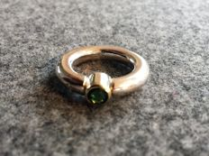 Solid ring with round profile - 925 silver + 14 kt goldw ith 0.85 tourmaline