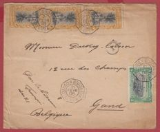 Belgium 1908 - Steamboat letter Loango to Bordeaux - The PARAGUAY line no 4.