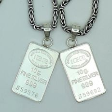 2 Sets Of  925 King's Chains + 10 g Fine Silver Bullion Pendants, Chain length 60 cm , Total weight 68g *** Low Reserve Price  ***