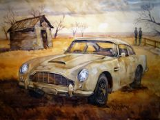 Aston Martin DB5 - James Bond - Unique, original work - Tea and watercolour