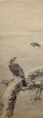 Scroll painting of a hawk on a snowy pine branch – signed Shoun – Japan – late 20th century