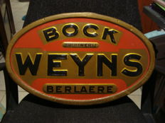 Metal advertising sign in relief for Bock Brewery Weyns Berlare - 1927