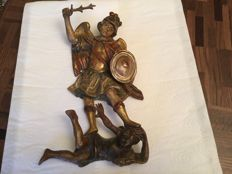 St. Michael slaying the devil - polychrome wood - 17th or 18th century