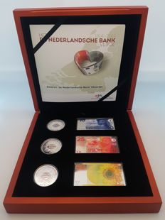 "The Netherlands - 5 Euros 2014 (coloured set) ""De Nederlandsche bank"" (Dutch Central Bank), including miniature banknotes - silver"
