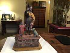Statue in polychrome wood - probably Saint Roch with dog and angel/ child - 18th century