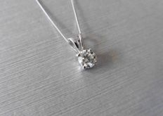 950 platinum diamond pendant and 18 kt gold necklace 1.00 ct