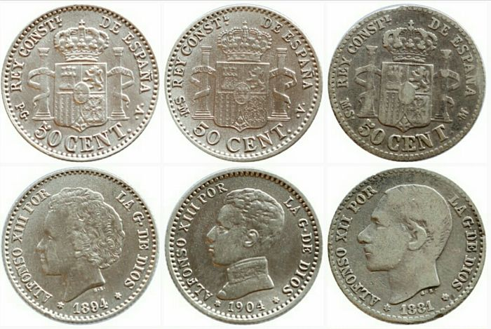 Spain - lot of 6 coins - Kingdom of Spain - Alfonso XIII 1886-1931. AR 50 cents - 1881-1894 - 2 from 1904 and 2 from 1926