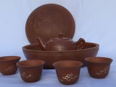 Yixing theeservies set in mooie opbergpot  - China - Ca. 1980