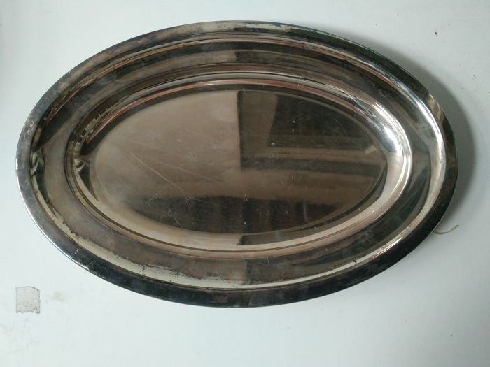 silvered metal oval tray