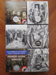 "France - 10 Euro, 2015 to 2016 ""Great Men and Women from the Great War"" and ""Heroes of Literature"" series, in a small chest (6 pieces) - silver"