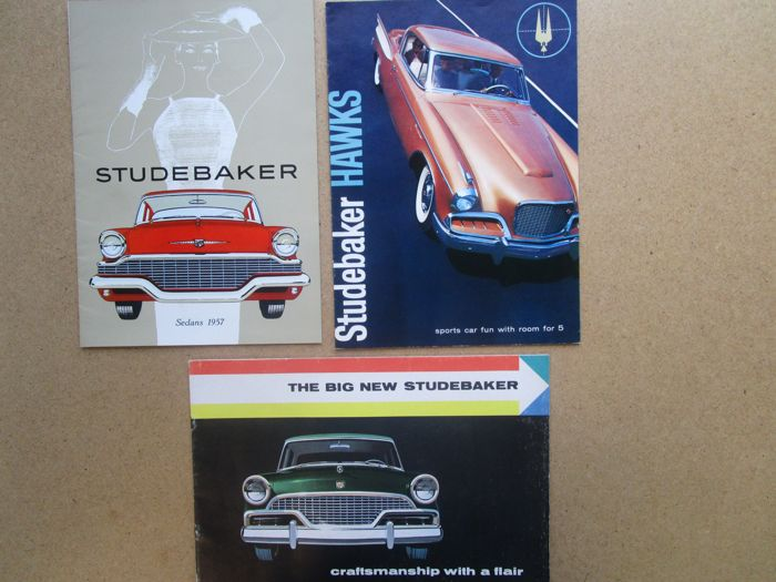 STUDEBAKER - Lot of 3 original brochures for Champion - Commander - President - Hawk 1956 and 1957