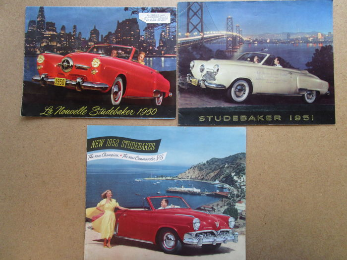 STUDEBAKER - Lot of 3 original brochures for Champion - Commander - Land Cruiser from 1950 to 1952
