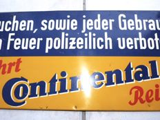 Fahrt Continental Reifen - very old tin advertising sign - Germany, ca. 1940