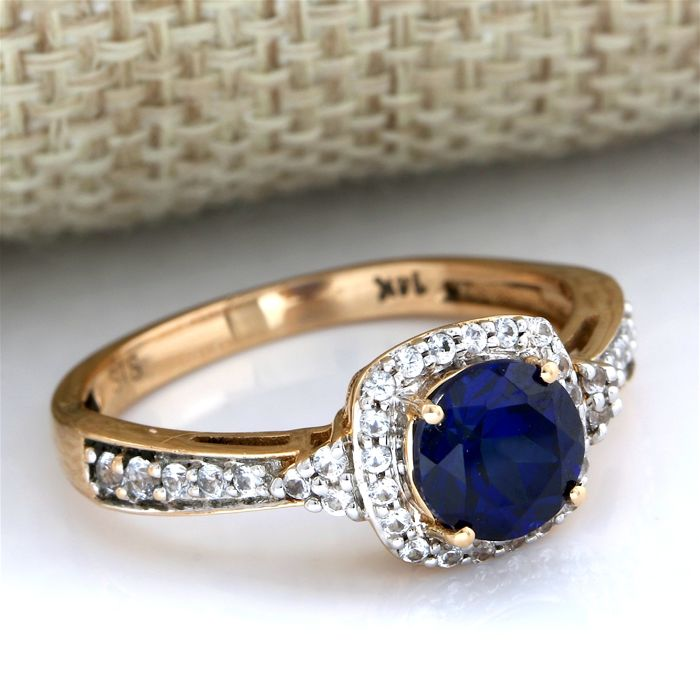 14 kt Rose Gold 1 45 ct Synthetic Blue Sapphire, 0 45ct Synthetic White  Sapphire Ring Size: 7 - Catawiki