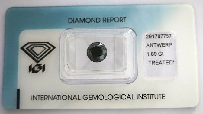 Natural Black Diamond 1.89 CT with IGI certificate***No minimum price***