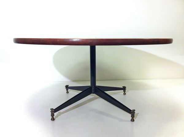 Unknown Designer   Round Vintage Mid Century Modern Coffee Table With  Characteristic Brass Feet