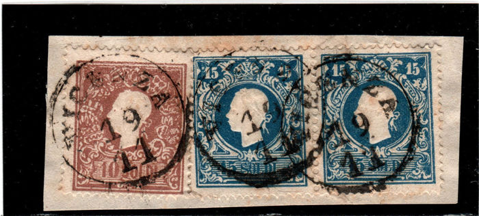 Kingdom of Lombardy–Venetia, 1850-1855 - Selection of stamps on fragments with various cancellations