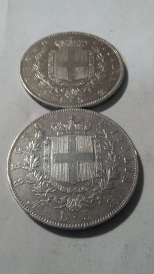Italy, Kingdom – 5 Lire 1865 Naples and Turin (2 coins) – Silver