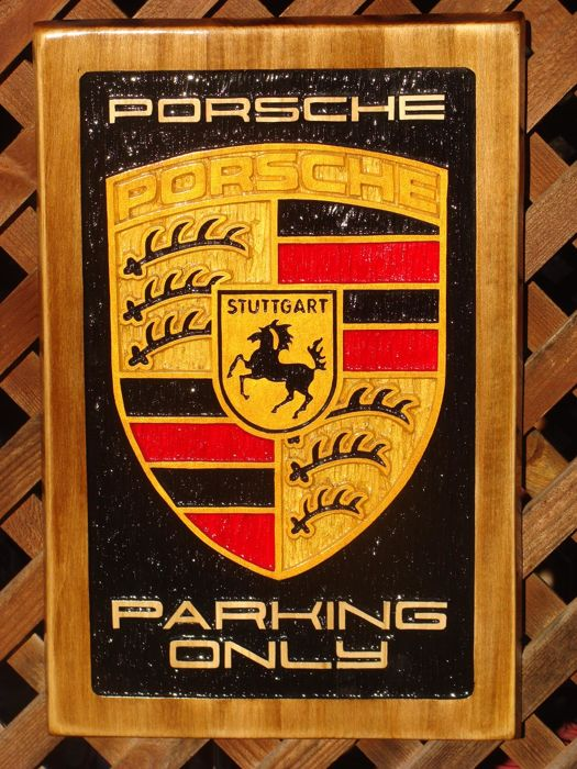 PORSCHE Parking Only Large unique handmade sculpting logo made from wood - 37,5 x 56 cm