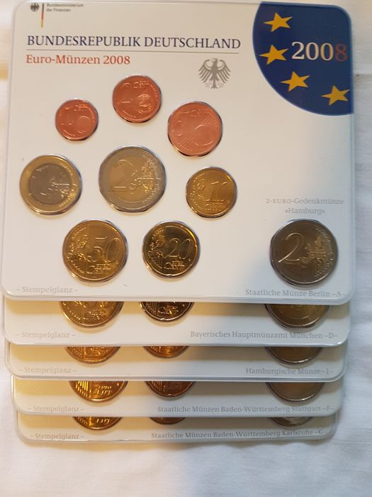 Germany 5 Mint Sets 2008 With Hamburg Cathedral 2 Euro 45