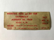 Original unused Woodstock 1969 ticket