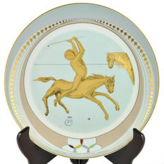 """Polo"" by Salvador Dalí gold painted porcelain plate - Artist Proof"