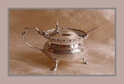 Sterling silver George V mustard pot w/ blue glass liner, Harry Atkin, Sheffield, 1923 and spoon, James Swann & Son, Birmingham, 1926