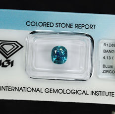 Intense Blue Zircon - 4.13 ct