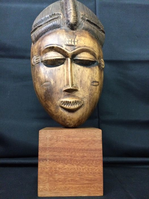 Handcrafted Wooden Baule Tribal Mask with Wooden Base Display