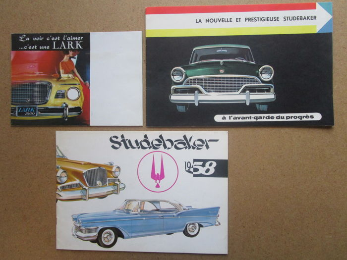 STUDEBAKER - Lot of 3 original brochures for Champion - Commander - President - Hawk  - Station wagon from 1956 and 1960