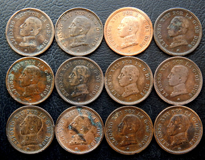 Spain - Alfonso XIII - lot of 12 coins of 2 cents, year 1911*11 PCV(7) and 1912*12 PCV(5)
