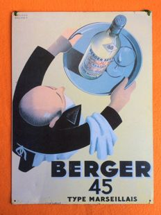 Advertising board made of metal - Berger 45 type Marseillais - second half of 20th century