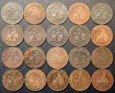Spain - Provisional Government - lot of 20 coins of 1 cent, year 1870.