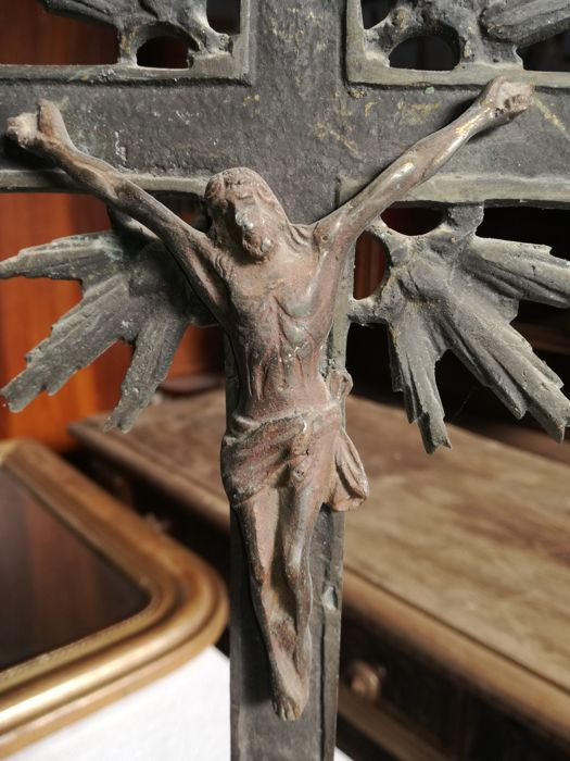 Romanesque crucifix - wrought iron - Italy - 1890