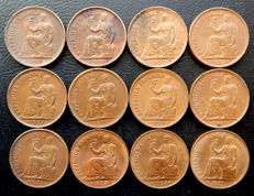 Spain - 2nd Republic - Lot of 12 coins of 50 cents year 1937