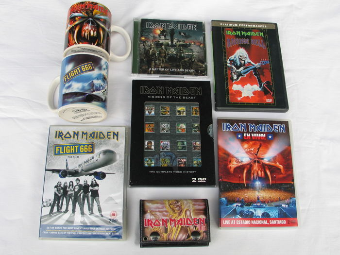 IRON MAIDEN -   lot of 8 DVD's  and 2 cups + 1 purse.