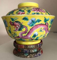 Yellow porcelain bowl with lid - China - early 20th century ca 1920