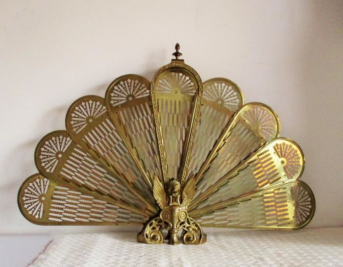 Particular brass gargoyle fan fireplace screen griffin peacock folding fan, mid 20th century