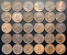 Spain - ALfonso XIII - lot of 30 coins of 1 cent, year 1912*2 PCV